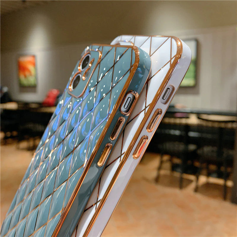 Luxury Golden Plating Geometric Designer Phone Case For iPhone 11 12 Pro Max 13Pro XR XS Max X 7 8 Plus 12Mini 11 13 With Camera Protection