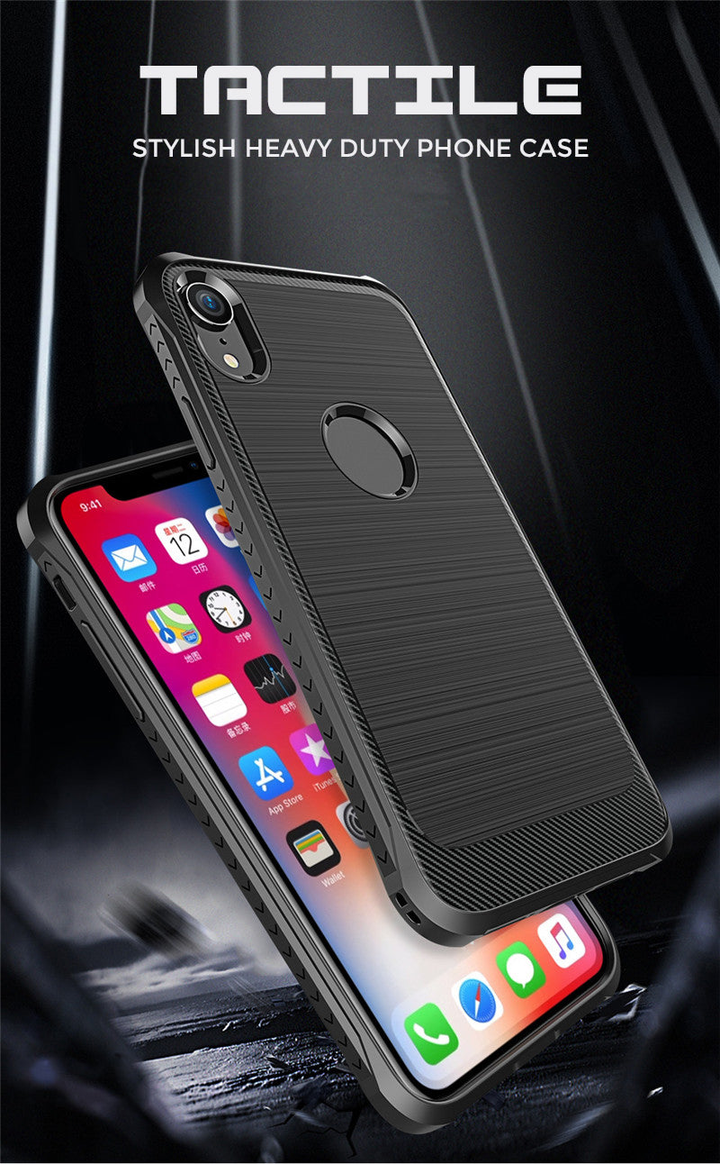 Luxury Heavu Duty Protective Phone Case for iPhone X Xs Max XR Brushed Finish Carbon Texture Soft TPU Anti-Slip Anti-Knock Cover for iPhone Xs Max