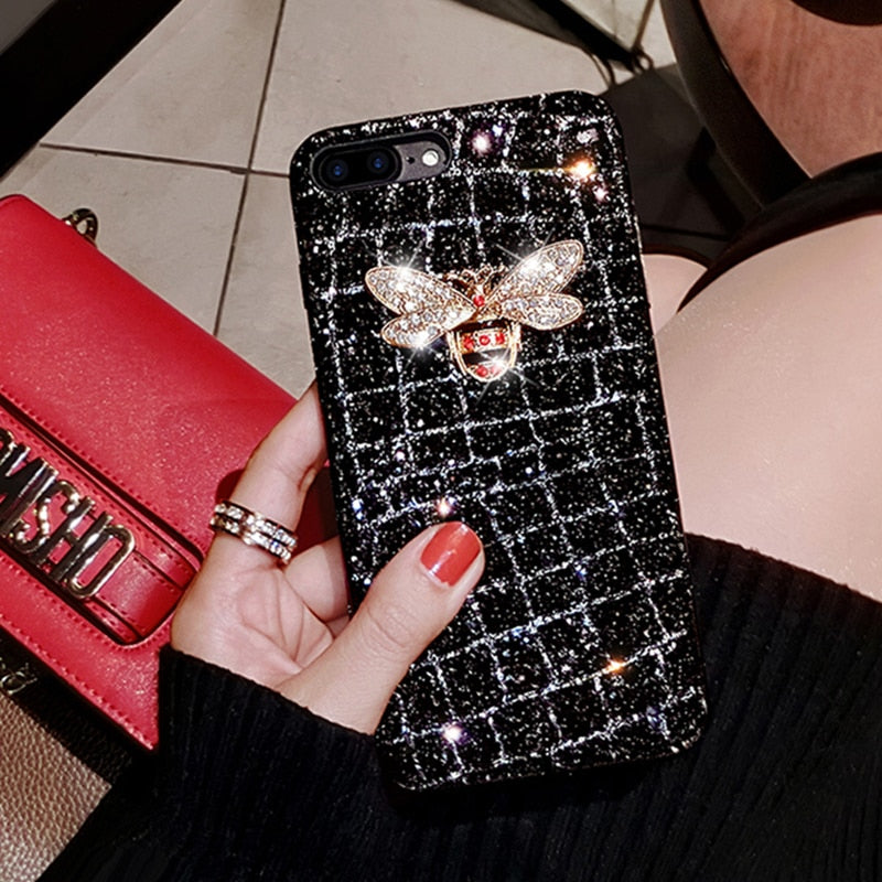 Luxury Jewelled Bee Glitter Diamond Bling Phone Case for iPhone XR XS MAX 11 Pro 7 8 6 Plus X Cute Soft Luxury Fashion Fitted Case Cover for iPhone 2020