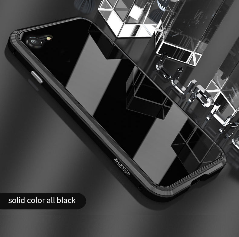 Luxury Laser Aurora Toughened Glass Metal Bumper Case For iPhone X 8 7 Plus Transparent Dazzle Glass Case Ultra Thin Aviation Aluminium Bumper
