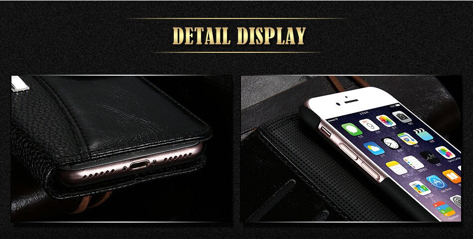 Luxury Leather Card Holder Flip Case For iPhone 7 6 6S 8 X Plus 5S Business Wallet Men's Women's Purse Magnetic Stand Flip Cover For iPhone.