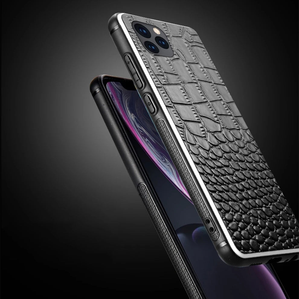 Luxury Leather Crocodile Texture Case iPhone 11 11 Pro Max X XR XS Max Case For iPhone 6 6S 7 8 Plus Made From 100% Natural Cowhide Leather