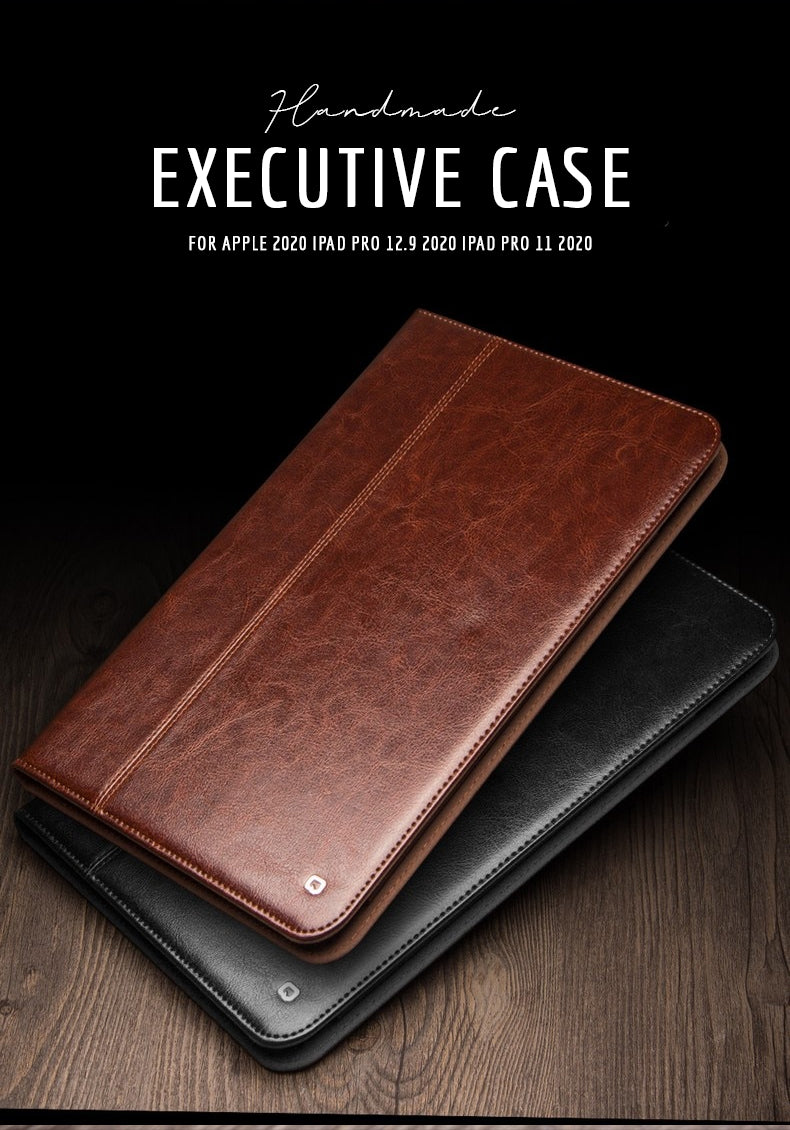 Luxury Handmade Leather Executive Case For Apple 2020 iPad Genuine Leather Case Cover For Apple 2020 iPad Pro 12.9 2020 iPad Pro 11 2020 Black or Brown