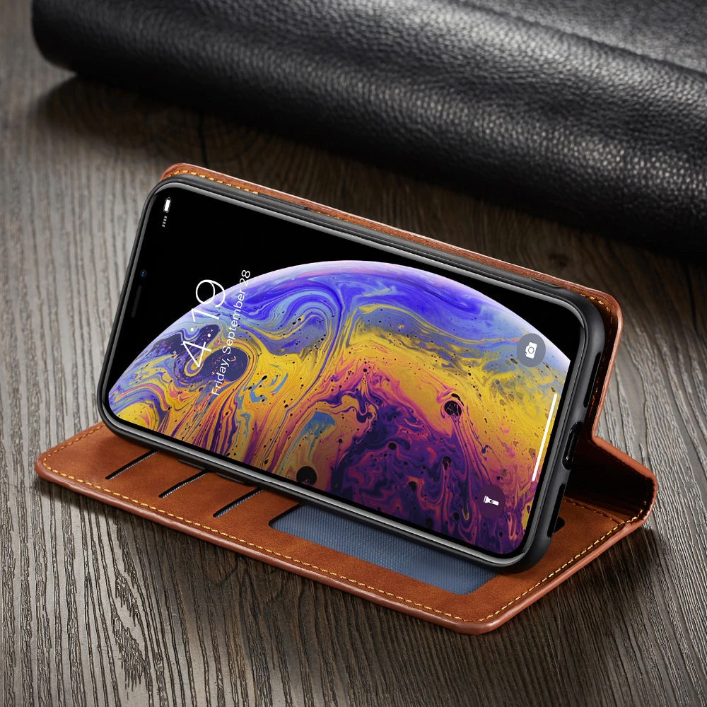 Luxury Leather Wallet Flip Case For iPhone 6 S 7 8 Plus iPhone XS Max XR Credit Card Holder Flip Leather Cover For iPhone X Case For iPhone 6s 7 Plus 8 Plus