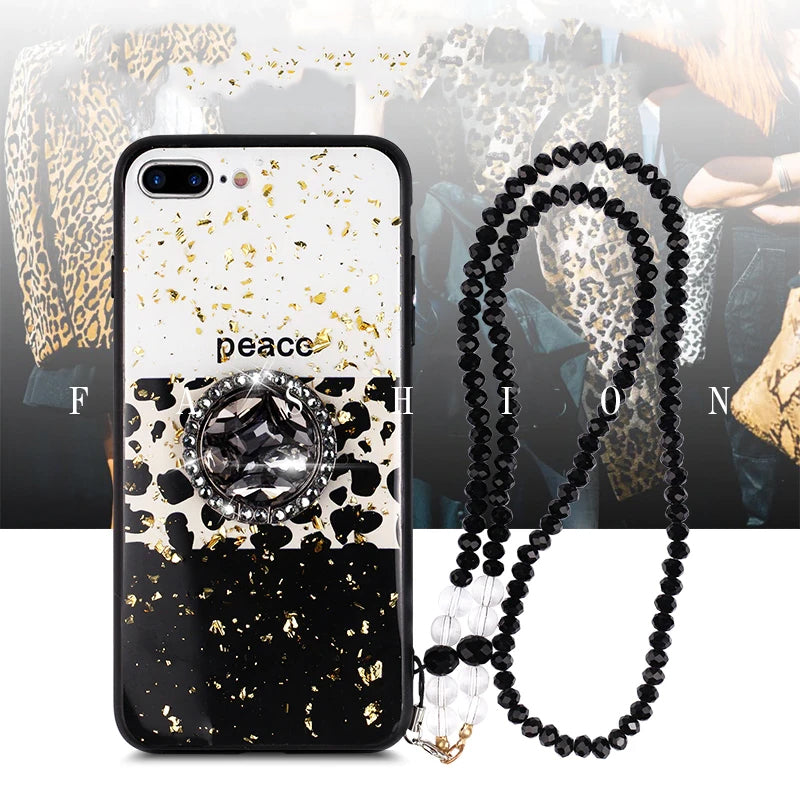 Luxury Leopard Print Phone Case For iPhone 11 Pro X XS MAX XR 6 7 8 Plus Glam Glitter Bling Stylish Fashion Fitted Case for iPhone.