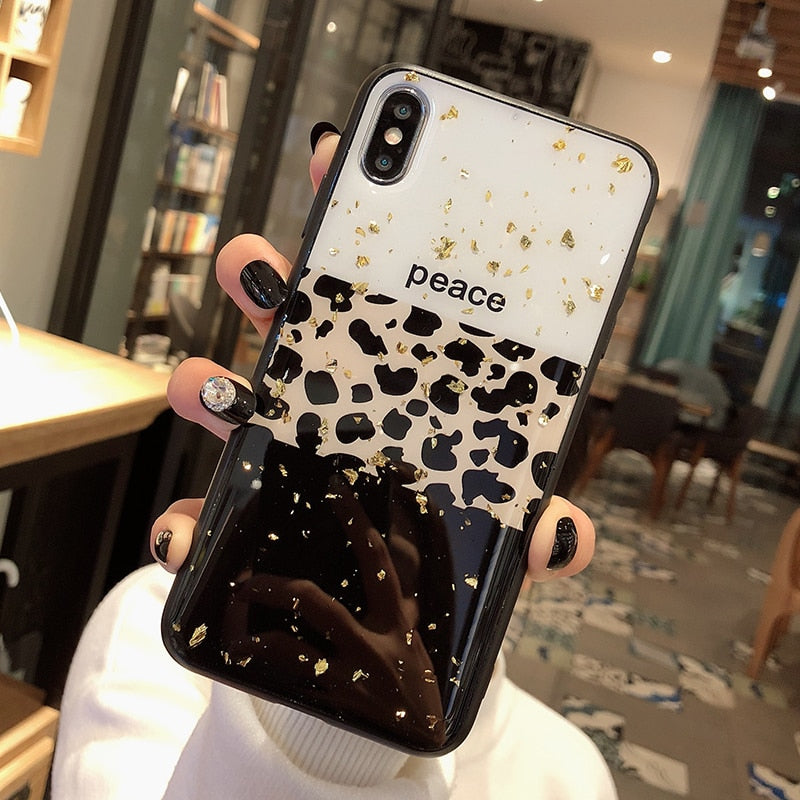 Luxury Leopard Print Phone Case For iPhone Xs Max XR 11 Pro X 8 7 6 6S Plus Glossy Anti-Knock Fitted Soft Back Case Latest Fashion Black Glitter Foil Peace Logo Option