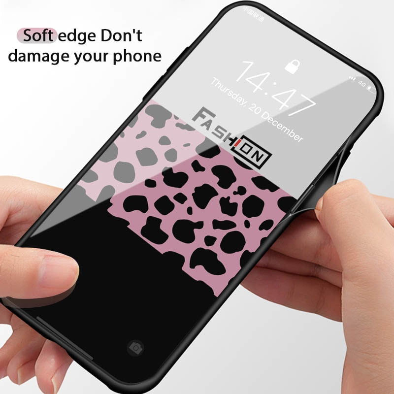 Luxury Leopard Print iPhone Case For iPhone Xs Max Xr X 8 7 6 6s Plus Tempered Glass Glossy Case Protective Phone Back Cover For iPhones