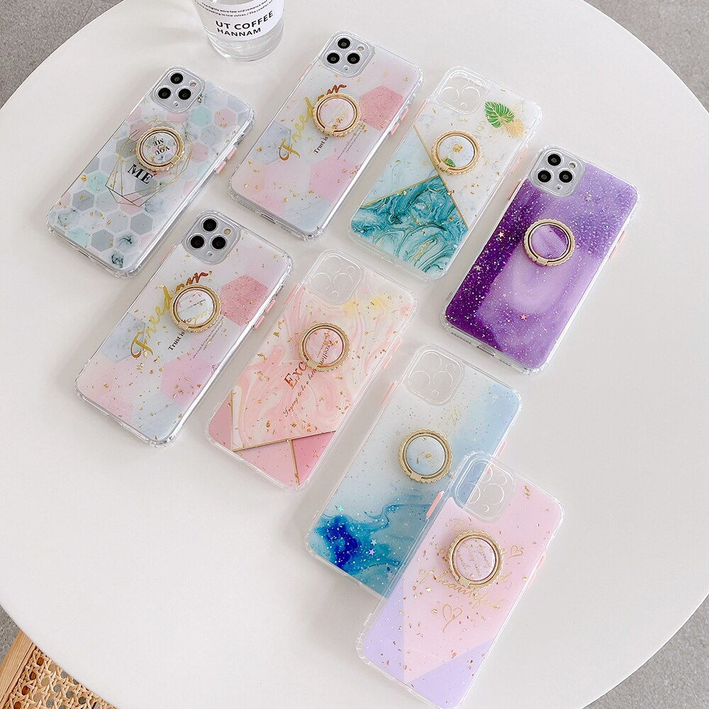 Luxury Marble Gold Glitter Geometric Ring Holder Phone Case For iPhone 12 Mini 11 Pro Max XR X XS Max 7 8 6 Plus Case Soft Phone Cover With Finger Ring Kickstand
