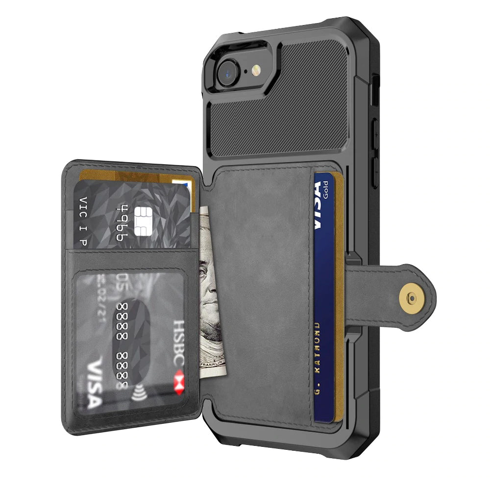 Luxury Max Protection Wallet Case With Card Holder for iPhone 6 6s 7 8 Plus X XS XR XX MAX Versatile Flip Cover iPhone Case With Multi-Pockets