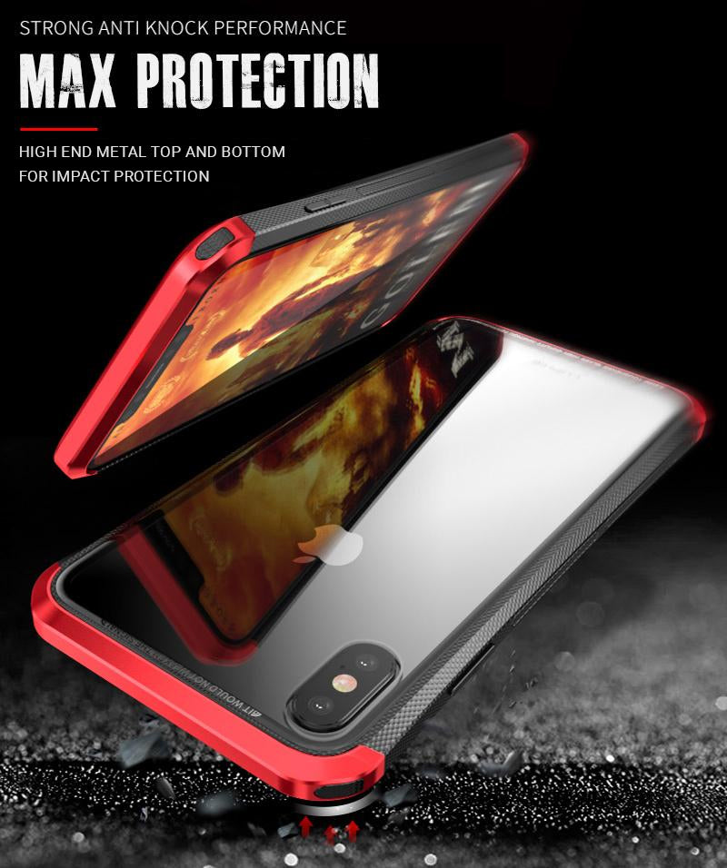Luxury Metal Bumper Case For iPhone X With Clear Tempered Glass Back Cover For iPhone XR XS Max Metallic Transparent iPhone Cases