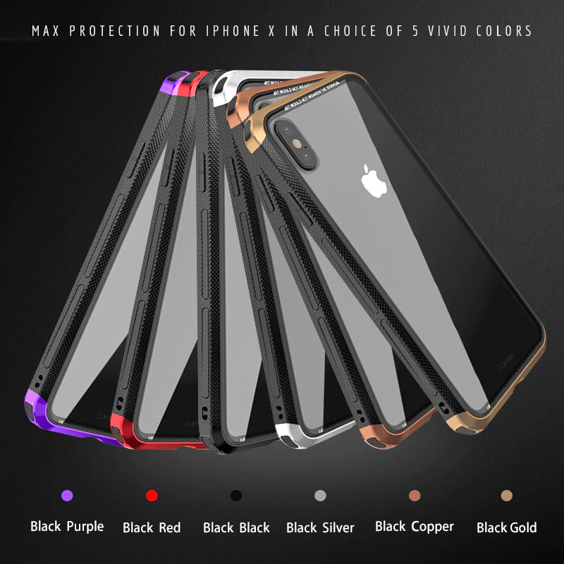 Luxury Metal Bumper Case For iPhone X With Clear Tempered Glass Back Cover For iPhone XR XS Max Metallic Transparent iPhone Cases.