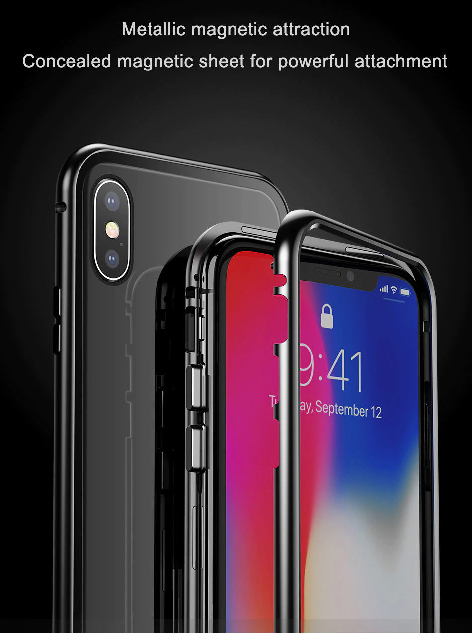 00a2b53f57e Luxury Metal Bumper Magnetic Absorption Case For iPhone X 10 Tempered Glass  Back Cover Flip Case