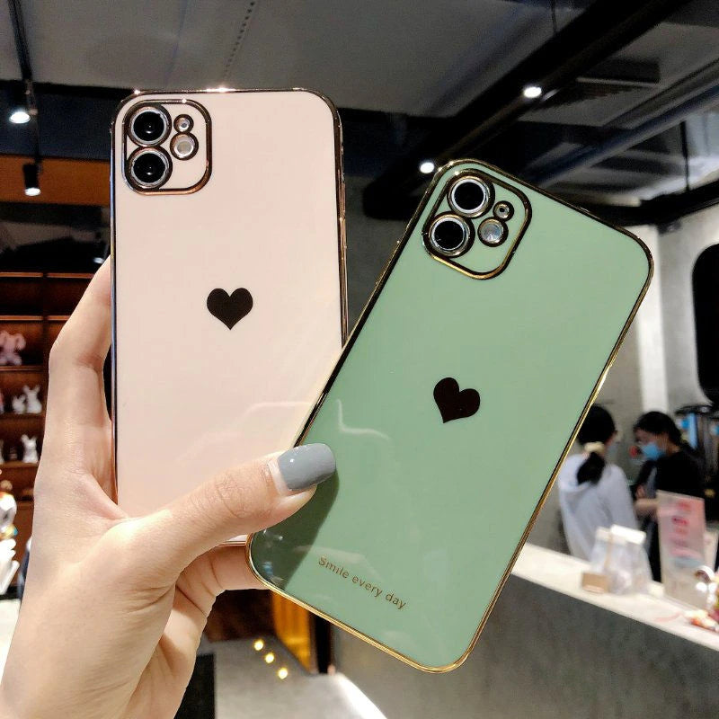 Luxury Plated Love Heart Smile Every Day Quote Phone Case For iPhone 11Pro 13 12 Pro Max XR XS X XS Max 7 8 Plus Shockproof Back iPhone Case