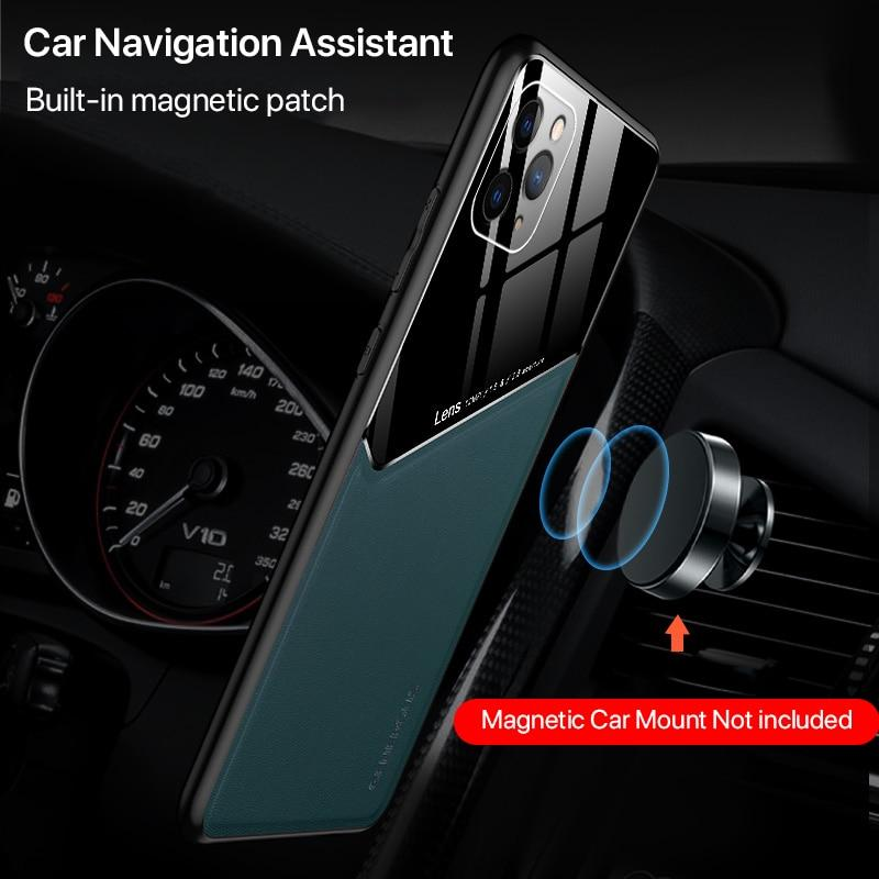 Luxury Plexiglass & Leather Combo Slim Case For iPhone 11 Pro Max For iPhone X XS XR 6 6s 7 8 Plus SE 2020 With Built-in Magnetic Patch & Lens Protection
