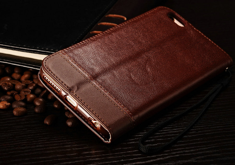 Luxury Real Leather Flip Case For iPhone iPhone X XS Max XR Flip Stand Leather Wallet Phone Case For Apple 6 S 6s 7 8 Plus