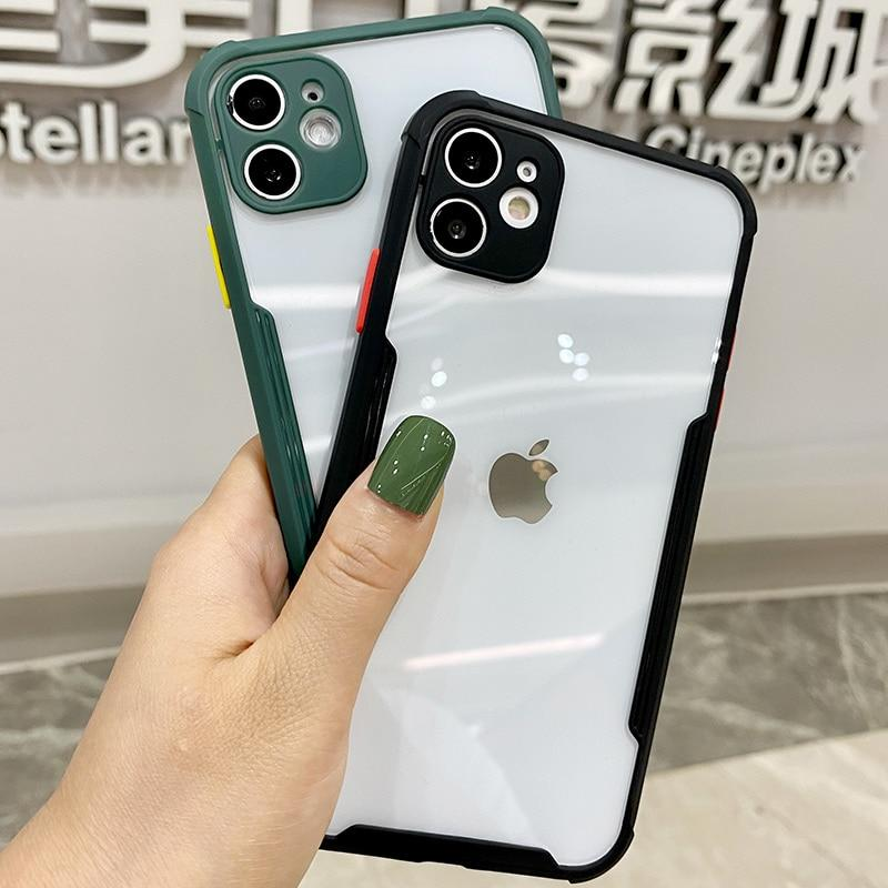 Luxury Shockproof Bumper Transparent Cover For iPhone 11 Pro Max XR X XS 7 8 Plus SE 2 2020 Protective Case For iPhone With Lens Protection