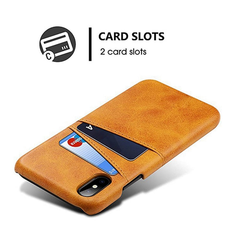 Luxury Slim Card Holder Case For iPhone XS MAX Cover For iPhone X XR XS MAX 8 7 6 6S Plus PU Leather Wallet Card Slot Hard Shell Back Cover