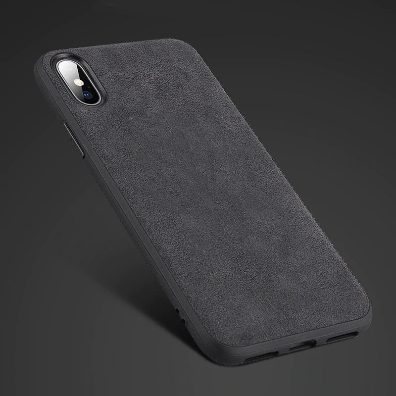 Luxury Soft Suede Alcantara Case For iPhone X XR XS Max 6 S Plus 7 7 Plus 8 8 Plus Soft Plush Suede Top Quality Protective Fitted Case For iPhones
