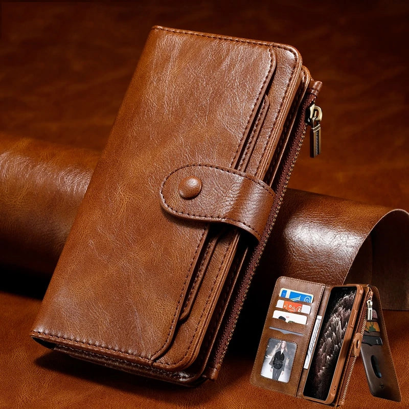 Luxury Soft TPU Leather Detachable Card Holder Wallet Case For iPhone 11 Pro XS Max XR X 7 8 6 6s Plus SE 2020 Soft TPU With Hard PC iPhone Case