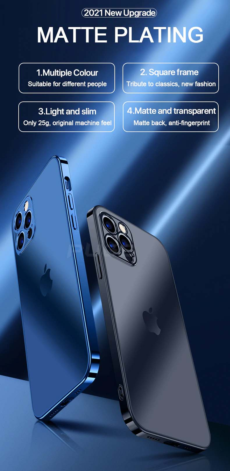 Luxury Square Frame Matte Plating Soft Silicone Transparent Case for iPhone 11 12 13 Pro Max Mini XR X XS 7 8 Plus SE 2020 Shockproof Cover