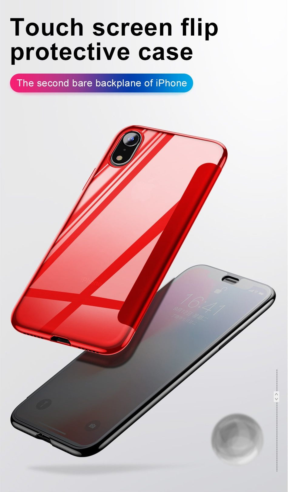 Luxury Touch Screen Flip Case For iPhone XS Max XR X S R XS Max With Tempered Glass Full Protective Back Cover Flip Case For iPhone XS Max