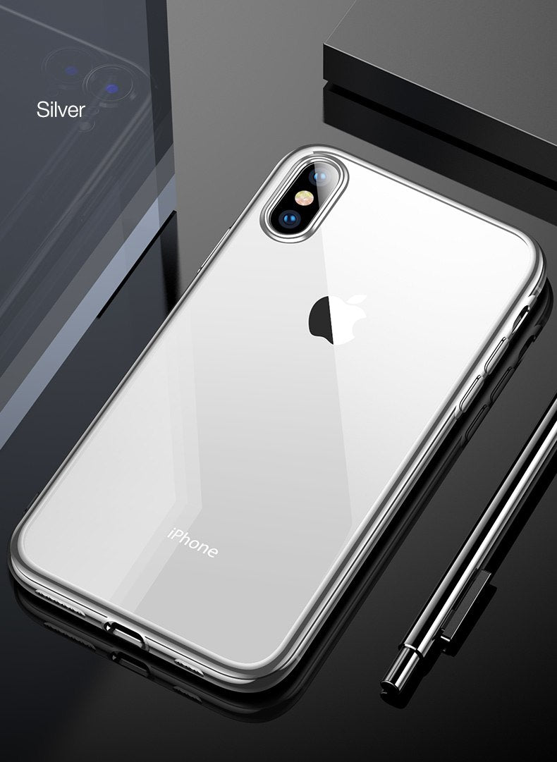 Luxury Transparent Fitted Case for iPhone X XR XS Max Soft TPU Silicon Plated Bumper Protection for iPhone XS XR 10 in 6 Stylish Colors