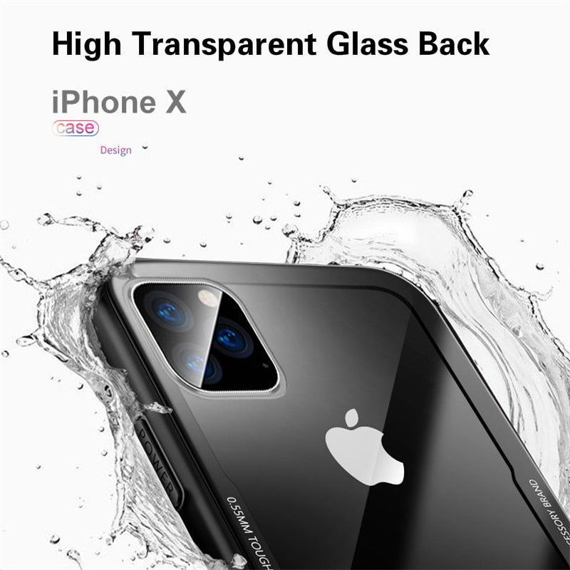 Luxury Transparent Tempered Glass Case For iPhone 12 12Pro 11 Pro X XR XS Max SE2 High Quality Clear Soft Silicone Glass Fitted Case For iPhone 7 8 Plus