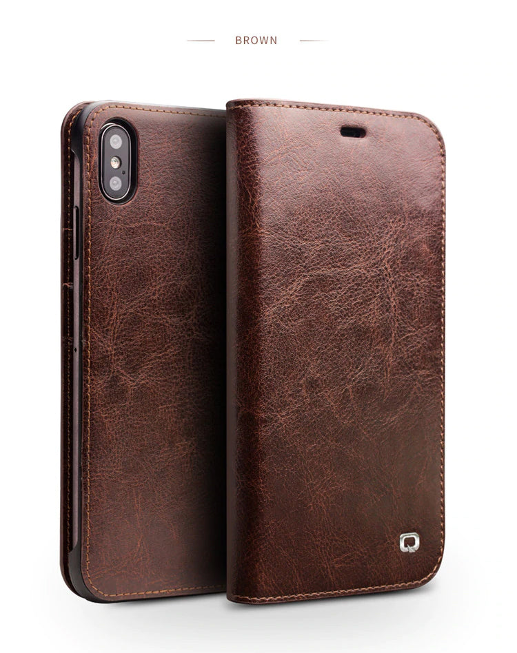 Luxury Ultra Slim Handmade Leather Flip Phone Case for iPhone XS/XR Genuine Leather Wallet Business Card Holder Phone Cover for iPhone XS Max