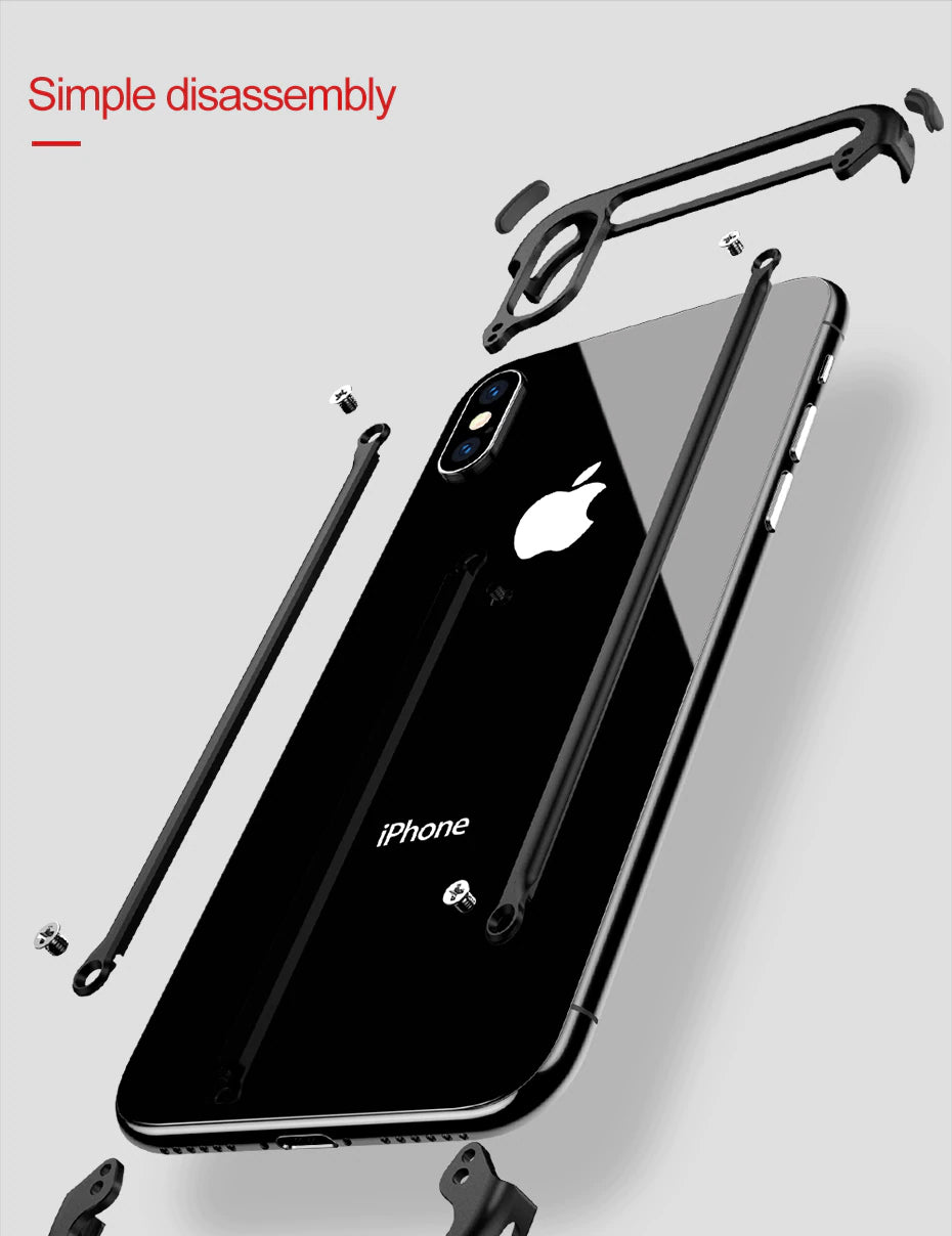 Luxury Ultra Thin Stylish Shockproof Metal Bumper Case With Anti-Knock Aluminum Metal Bumper With Screw Fix Attachment For iPhone X XS XS MAX XR