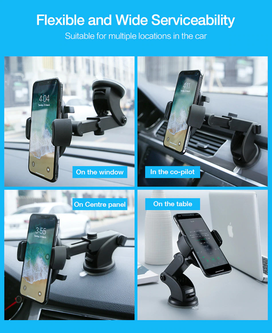Luxury Universal Car Phone Mount For iPhone X XS 8 7 Plus Dashboard Car Mount Phone Holder Windscreen Phone Mount For Samsung S9