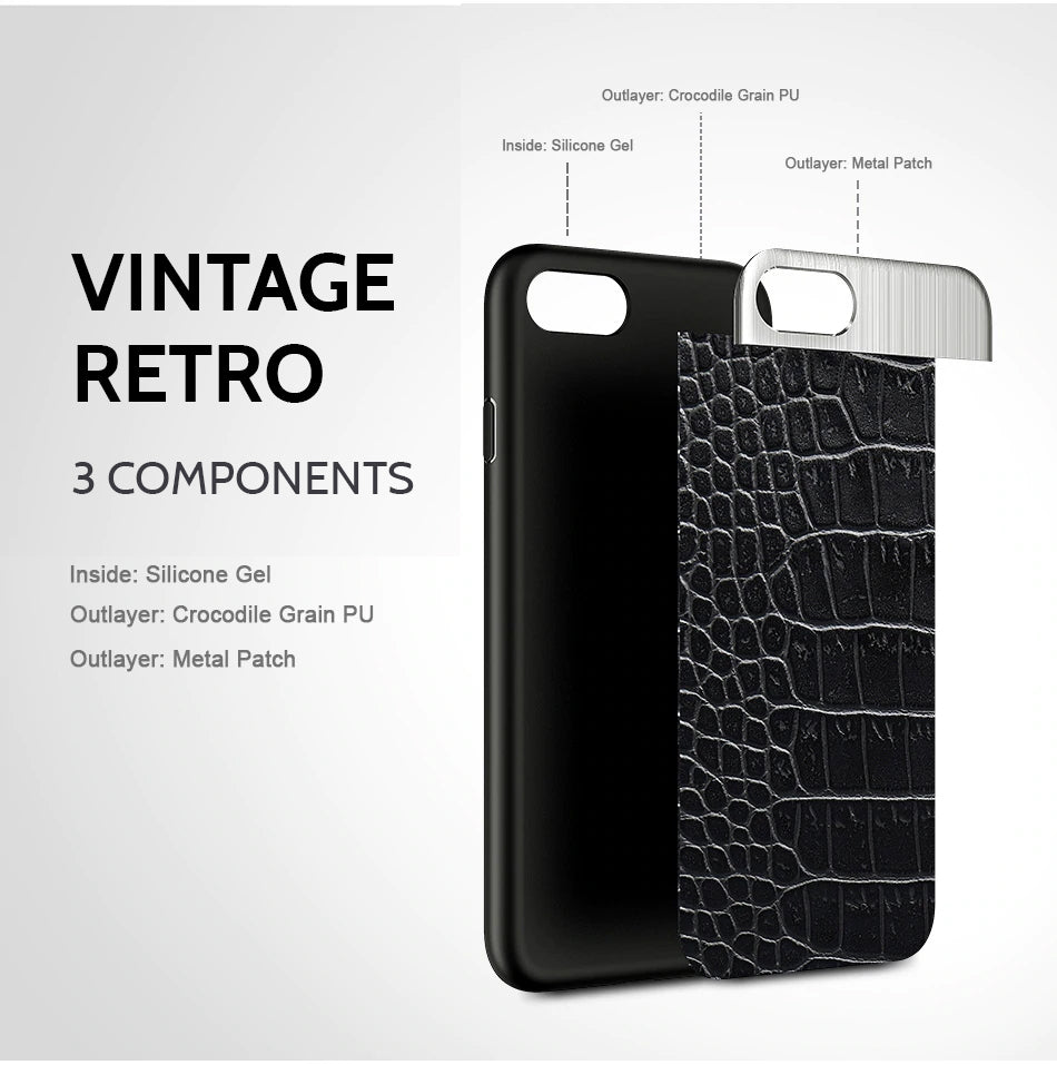 Luxury Vintage Retro Crocodile PU Leather Phone Case For iPhone 6S 6 7 8 Plus 10 X Leather Stitching Cases For iPhone 7 8 X Plus Cover