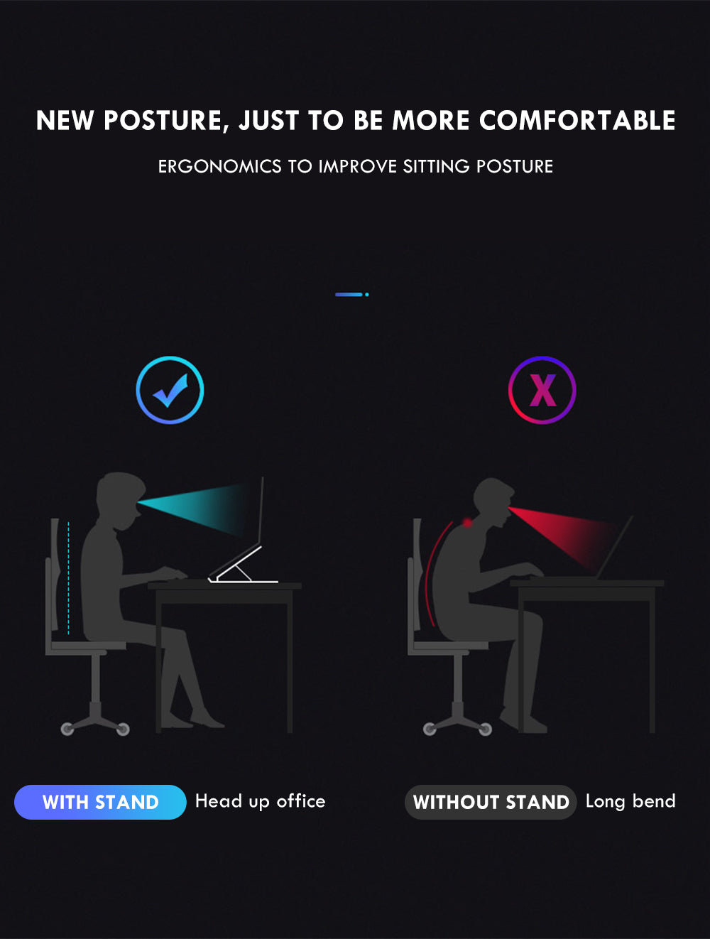 MacBook Desk Stand Adjustable Height Non-Slip Universal Laptop Stand For Raising The Laptop On Table To Improve Posture Also Suitable For Tablets & Notebooks