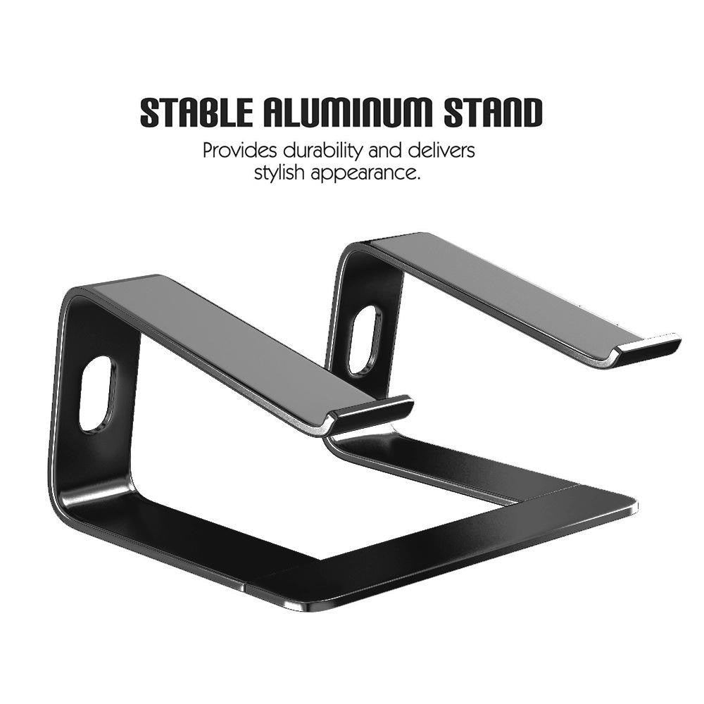 MacBook Desktop Stand Stylish & Sturdy Raised Platform For Laptop Constructed From Aluminum Alloy With Silicon Skid Plates Finished in Black or Silver