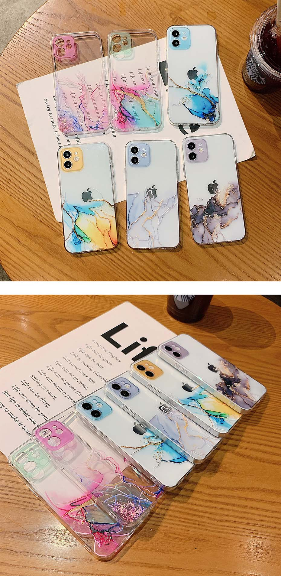Marble Watercolor Painting Design iPhone Case Transparent Shockproof Cover For iPhone 13 12 11 Pro X XR Max Case For iPhone 8 7 Plus XS Max