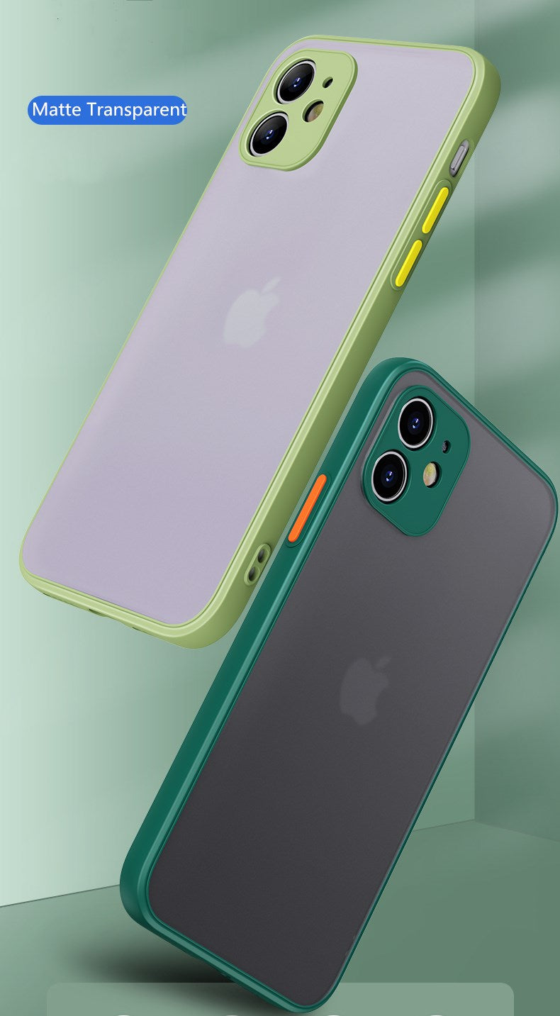 Matte Translucent Shockproof Silicone Bumper Phone Case For iPhone 12 11 Pro Max Mini X XR XS MAX 8 7 6 6S Plus SE 2020 Plain Luxury Fitted Case for iPhone