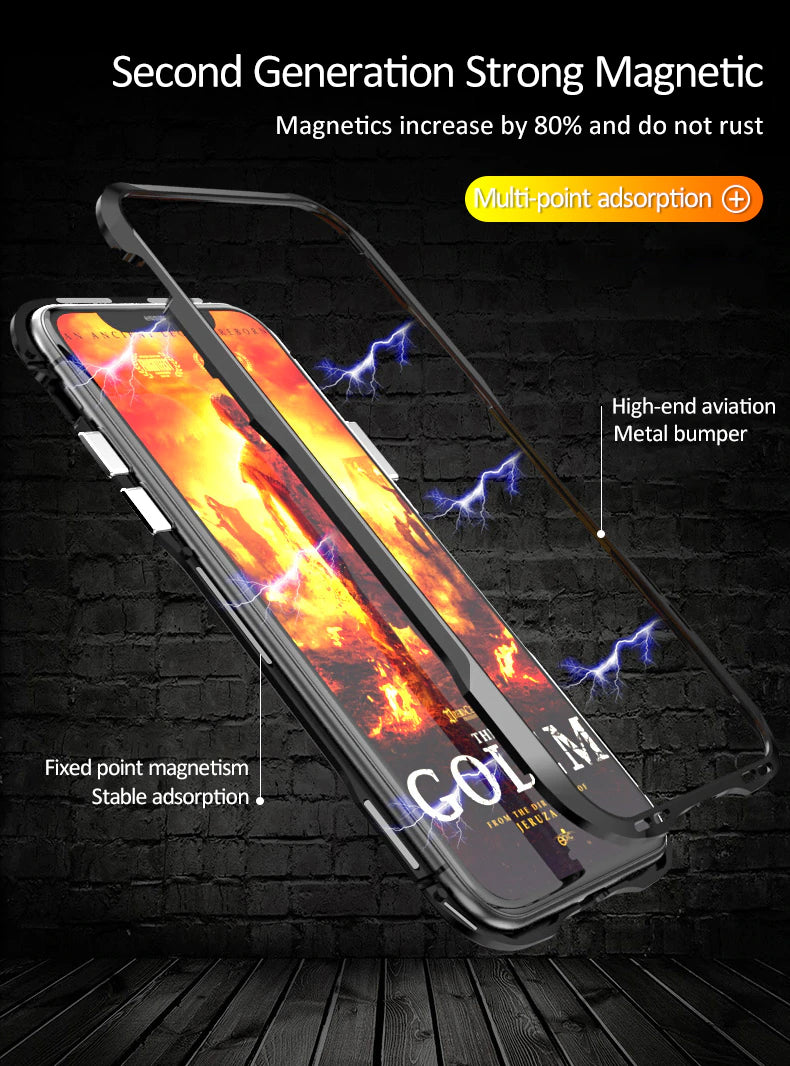 Metal Bumper Magnetic Case For iPhone X XS Max XR 8 7 Plus Magnet Adsorption Cases Clear Glass Back Cover Case For iPhone 7 8 Plus X