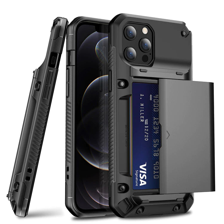 Military Grade Rugged Armor Case With Slider Card Slot Case for iPhone 13 12 11 Pro Max Mini XS Max XR SE2 6 6s 7 8 Plus Shockproof iPhone Case