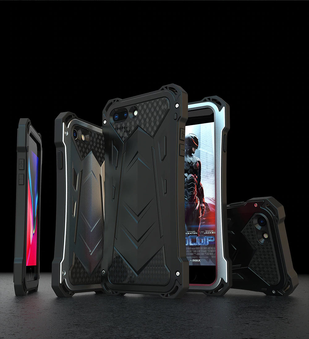 Military Strength Metal Armor Case for Apple iPhone 7 8 Aluminum Case Mechanical Protection Armor Back Cover Super Strong Phone Cases for iPhone 7 8 Plus