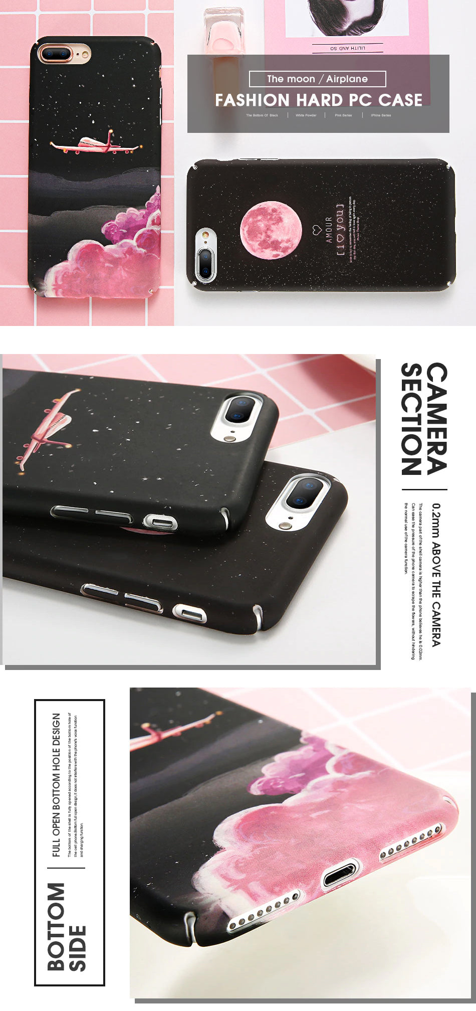 Moon and Stars Pink Black Hard Matte Case Covers For iPhone XS Max Xr 7 6 S 8 Plus Cover For iPhone SE 5S 5 X iPhone Cover