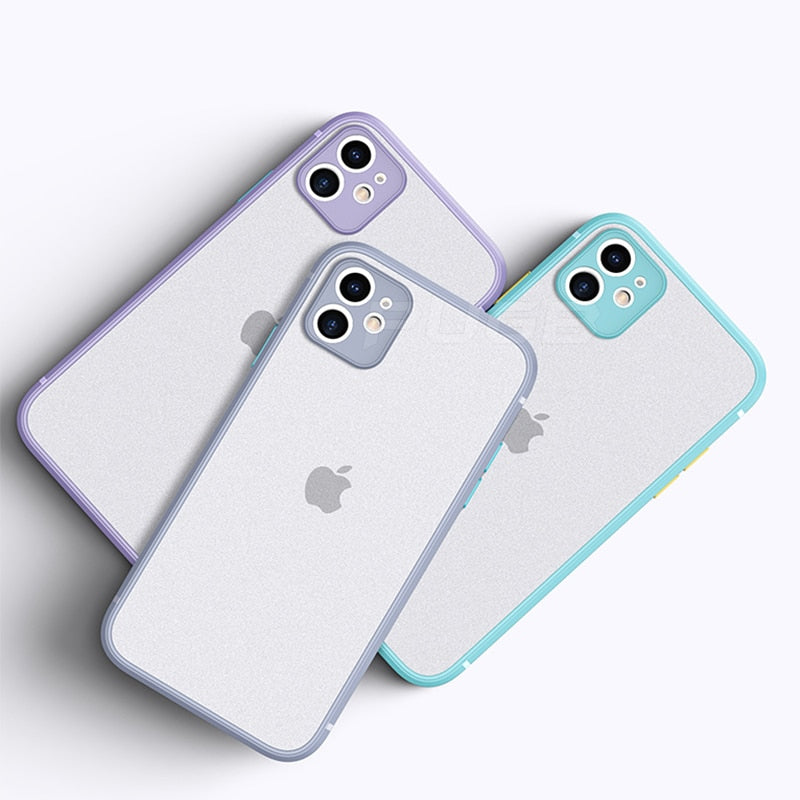 New Design Shockproof Luxury Matte Translucent Square Edge Case For iPhone 12 11 Pro Max Cover for iPhone X CX Max XR 7 8 Plus SE 2020 Cases