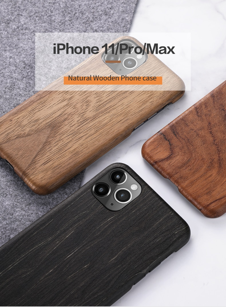 Original Natural Real Wood Cover For Phone 11 Fitted Case For iPhone 11 Pro Max Rosewood Walnut Real Wood Pattern Protective Case
