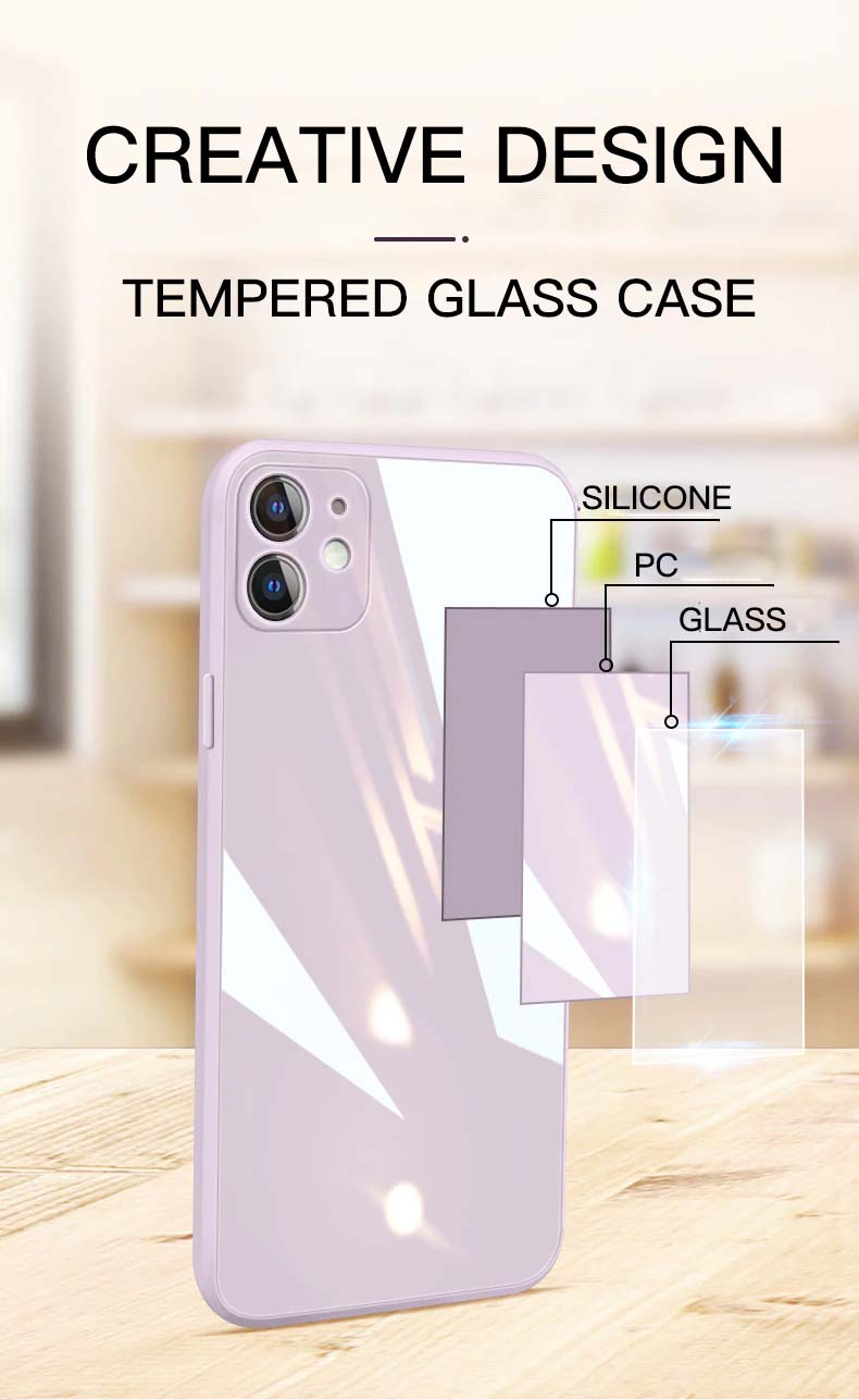 Pastel Color Scratch Resistant Liquid Glass Skin Case For iPhone 12 11 Pro XS Max X XR 6 6s 7 8 Plus SE2 2020 Protective Back Cover Case For iPhone