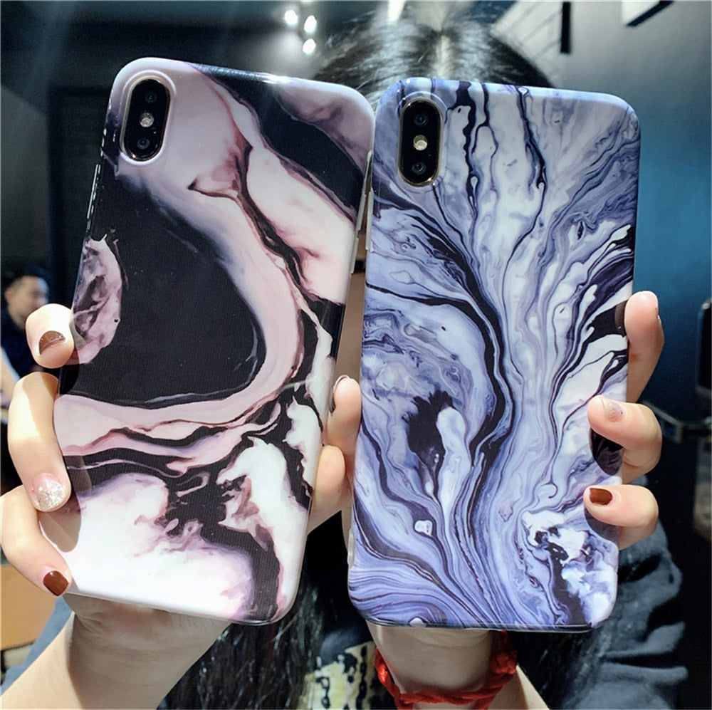 Pearl Marble Fashion Phone Case For iPhone X XR XS Max 6 6s 7 8 Plus Colorful Swirly Patterned Abstract Art Soft Fitted Phone Case For iPhone X