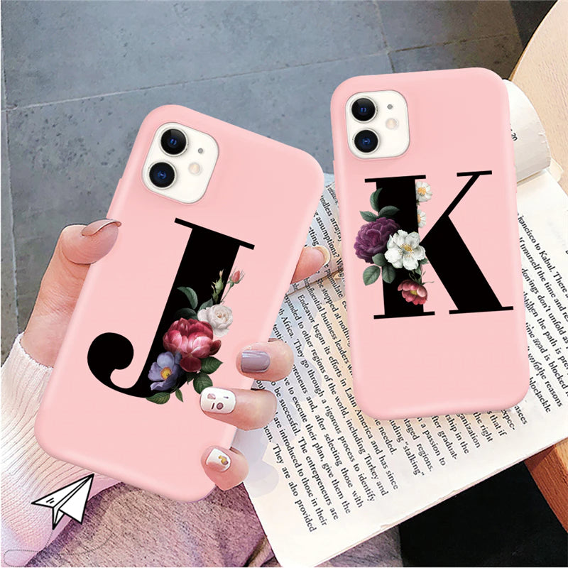 Pink Fashion Personalized iPhone Case For iPhone 13 Pro Max 12 Pro Max 11 Pro Max 13 Mini Letter A-Z Couples Names Soft TPU Back Cover