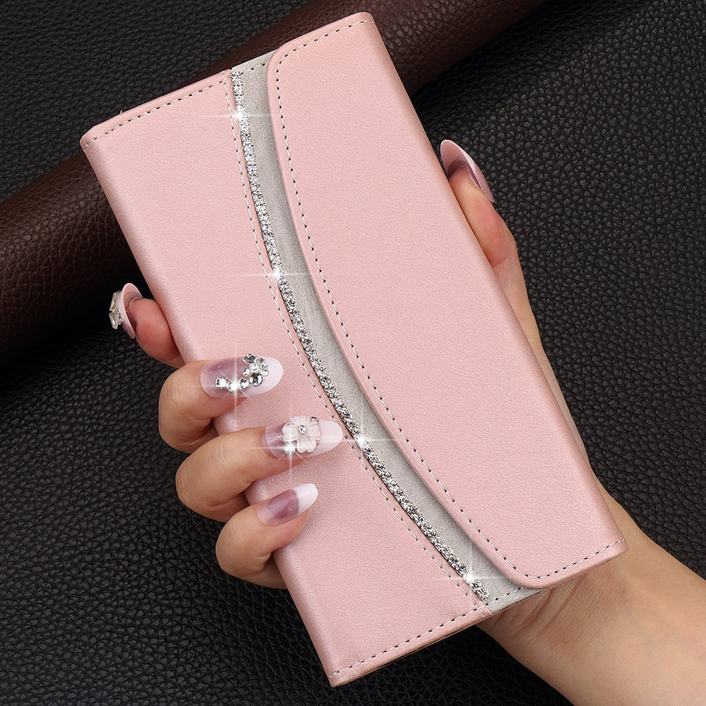 Pink Rose Gold Luxury Card Holder Wallet Flip Case for iPhone 11 12 Pro Xs Max Xr X 8 7 6s 6 Plus Premium PU Leather Rhinestone Case for iPhone