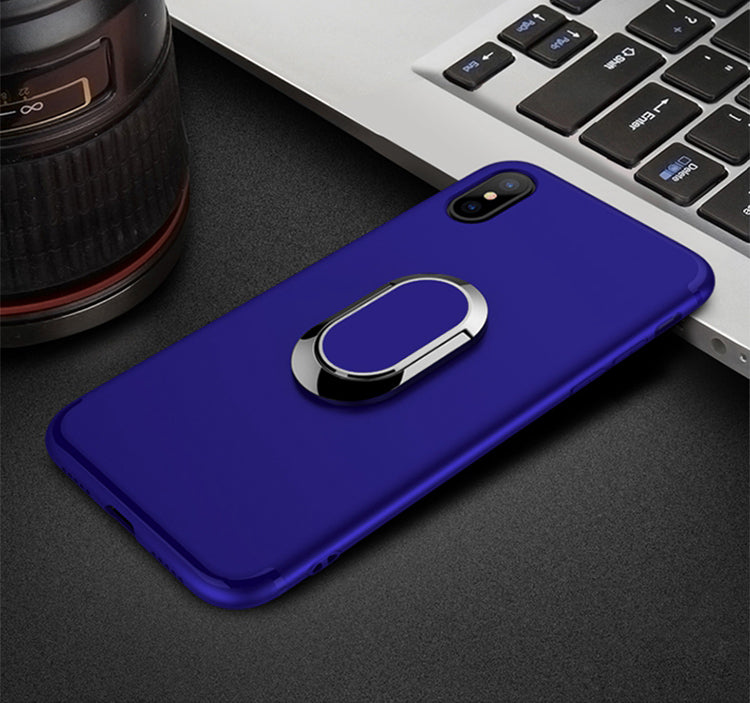 Plain Matte Finger Ring Case For iPhone X 8 8 Plus 7 7 Plus 6 6s Plus iPhone Protective Back Cover With Magnetic Car Holder Mount And Kickstand