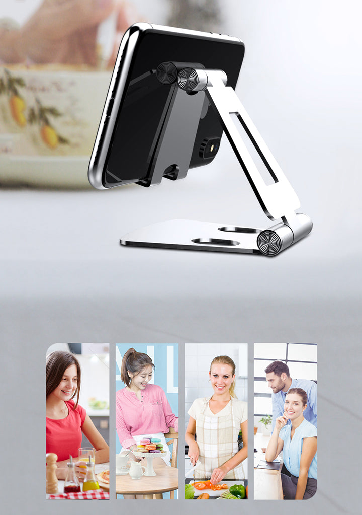 Polished Aluminum iPhone Desk Stand Adjustable Holder For Smartphone Easy Fold And Carry With Pouch Mini Size Compact And Portable Universal Phone Stand