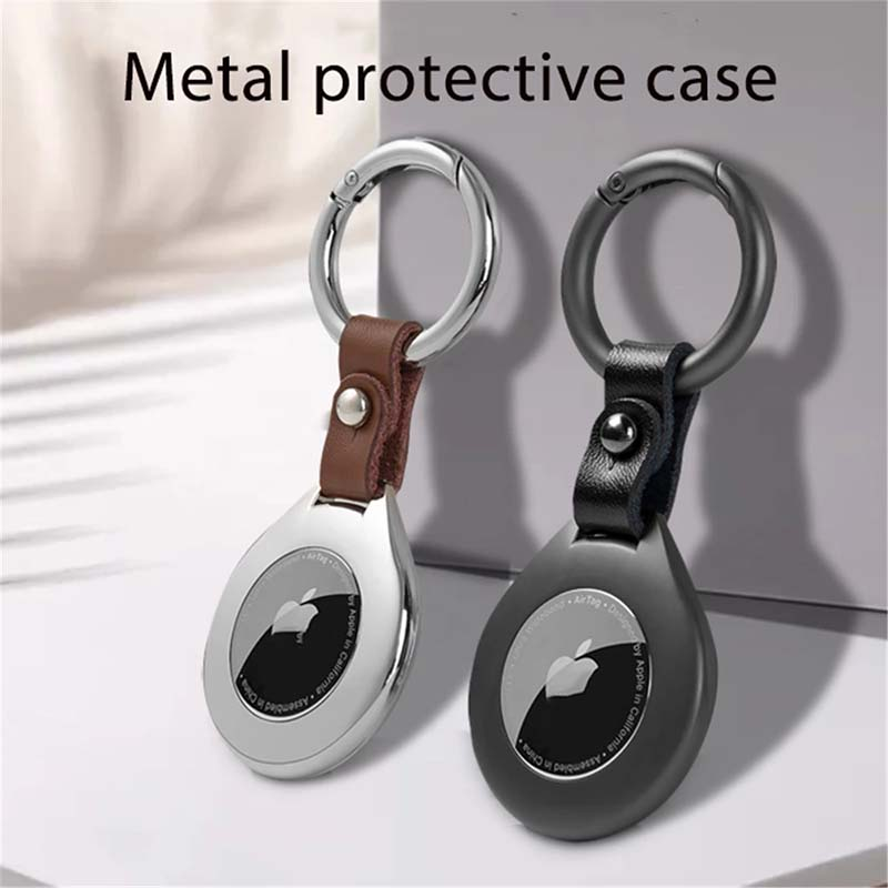 Premium AirTag Case High Quality Metal Keyring With Cowhide Connector Protective Cover For Apple Air Tag Tracker Device