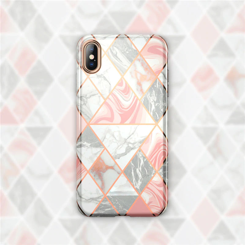 Premium Marble Gold & Silver Designer iPhone Case for iPhone XR 6.1 inch Slim Soft TPU Case Plated Marble Effect Clear Protective Back Cover For iPhone XR