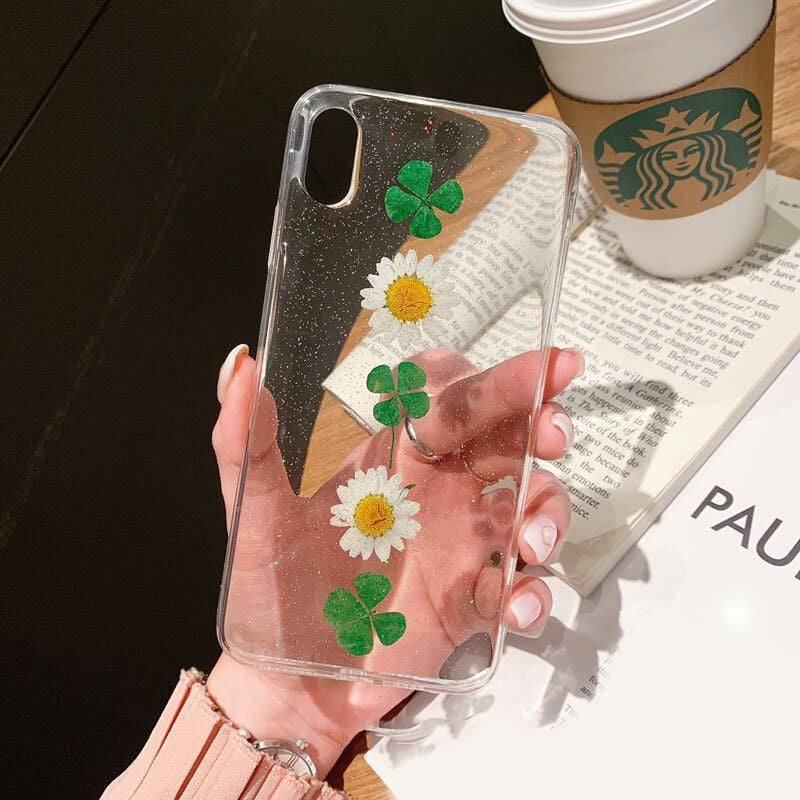 Pretty Floral Transparent Phone Case For iPhone X XS 6 6s 7 7 Plus 8 8 Plus Clear Case With Real Dried Flowers Permanently Sealed In Case
